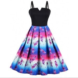 VINTAGE Style Ombré Feather Swing Dress